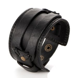 Other - Black Leather Cuff Bracelet Wristband Snap Unisex